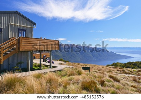 TE ANAU, NEW ZEALAND - DECEMBER 31 2015: Luxmore Hut on Kepler track - tramping track which travels through some spectacular scenery of the South Island of New Zealand.