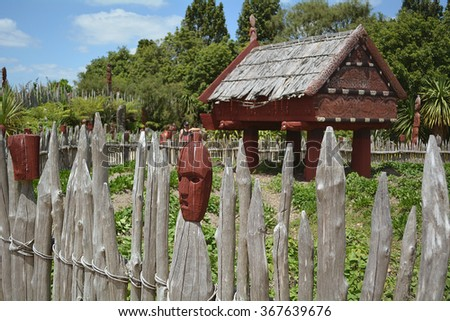 Te Parapara Maori Garden. New Zealand - stock photo