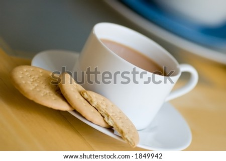 tea and biscuits - stock photo