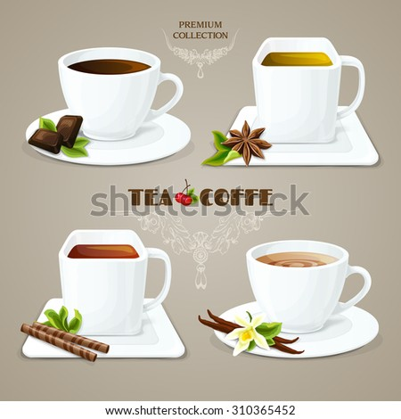Tea and coffee elegant porcelain cups with saucers set premium collection  illustration - stock photo