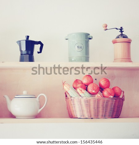 Tea and coffee equipment in kitchen, nostalgic still life, retro filter effect - stock photo