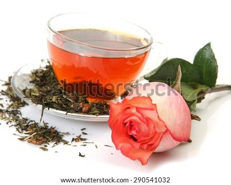 Tea and flower  - stock photo