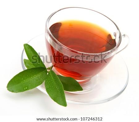 Tea and green leaf - stock photo