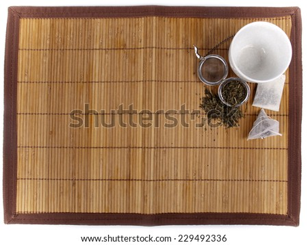 Tea background with different kinds of fresh tea and teabags - stock photo