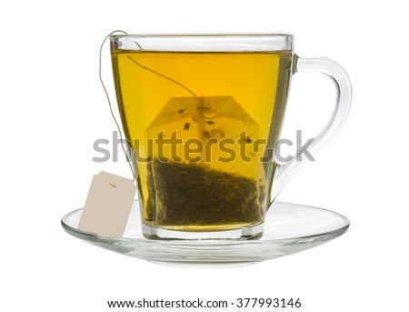 tea bag in a transparent cup isolated on white background