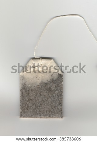 Tea bag small porous sealed bag containing tea leaves used with water for brewing tea - stock photo