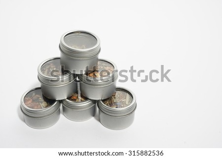 tea blends in tin cans