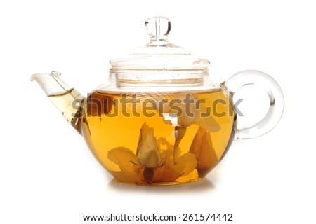 tea brewed in a glass teapot isolated on white background - stock photo