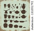 Tea, coffee and pot sets - stock vector