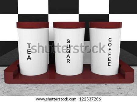 Tea, coffee and sugar cannisters with wooden holder - stock photo