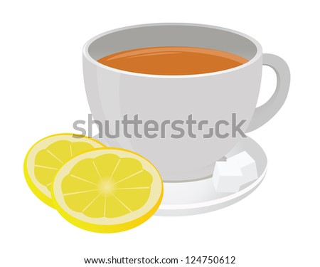 Tea cup and lemon. Raster version. Vector in my portfolio - stock photo