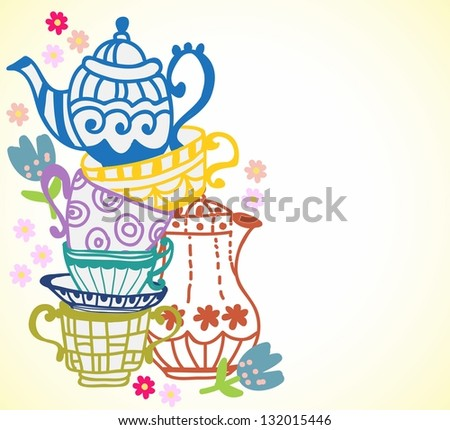 tea cup background with teapot, illustration for design - stock photo