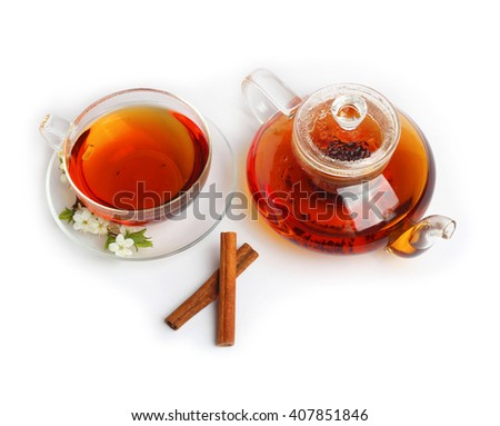 Tea cup kettle isolated white background