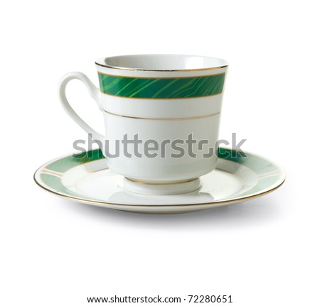 Tea cup on a white background. Isolated path included - stock photo