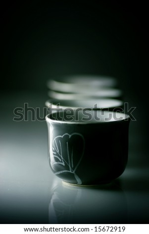 tea cup on the dark background