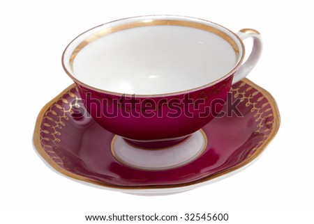 Tea cup with a saucer on a white background - stock photo
