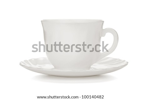 Tea cup with saucer. Isolated on white background - stock photo