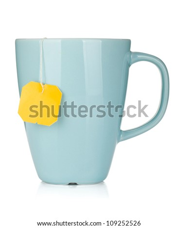 Tea cup with teabag. Isolated on white background - stock photo
