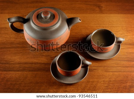 tea cups and kettle on wooden desk, view from above