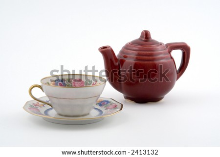 Tea For One, Teapot and China Cup with Saucer Isolated on White Background - stock photo