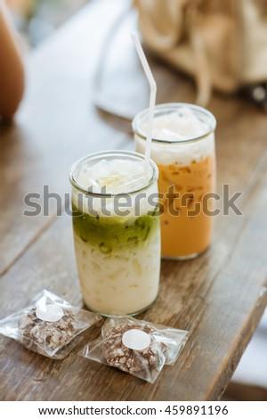 tea green ice latte thai milk - stock photo