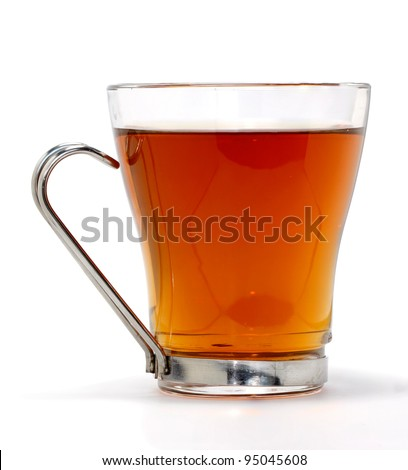 Tea in glass cup isolated on white. - stock photo