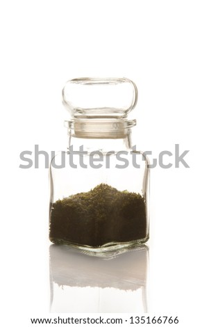 tea  in glasses bottle on isolate