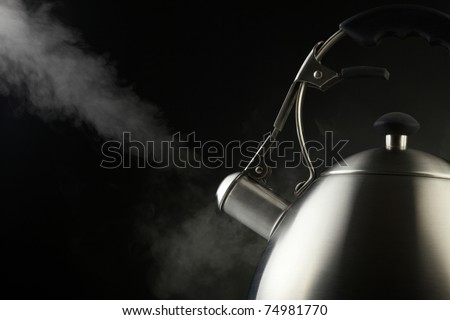 Tea kettle with boiling water - stock photo