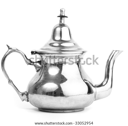 tea metal pot on white background - stock photo