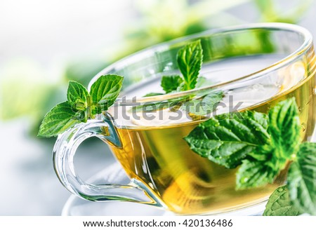 Tea. Mint Tea. Herbal tea. Mint leaf. Mint leaves. Tea in a glass cup, mint leaves, dried tea, sliced lime. herbs tea and mint leaves on a slate plate in a restaurant or teahouse tea room