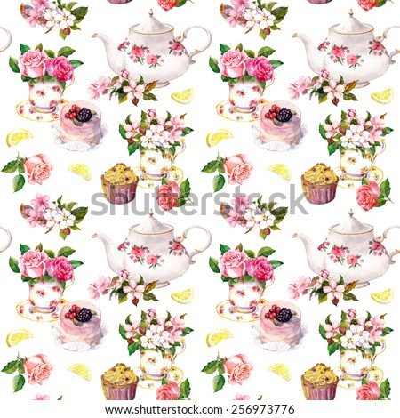 stock photo tea pattern with flowers in teacup cupcake and teapot watercolor repeating wallpaper 256973776 - Каталог — Фотообои «Еда, фрукты, для кухни»