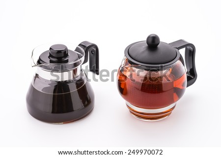 Tea pot and coffee pot isolated on white background - stock photo