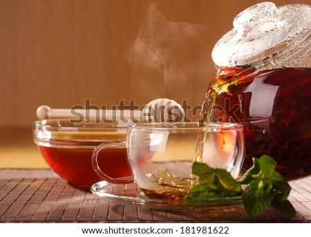 tea pot and cup - stock photo