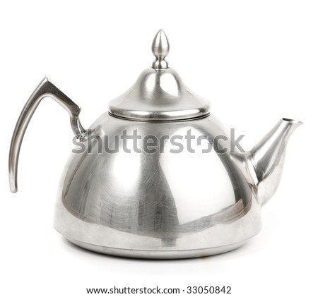 tea pot on white background - stock photo