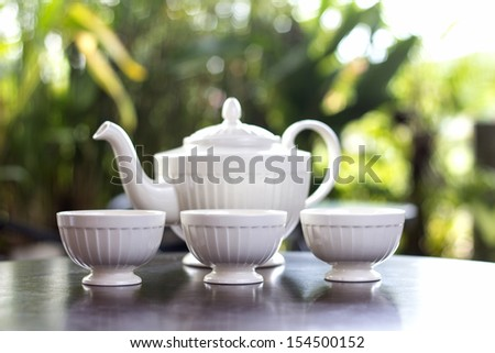 Tea pot with tea and cup delicious - stock photo