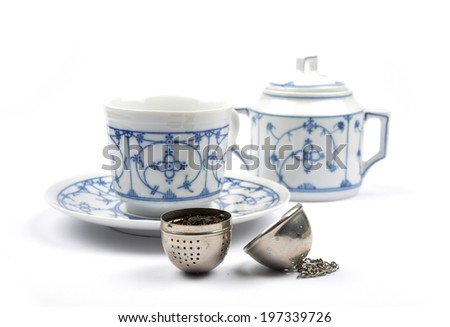 Tea service and ball - stock photo