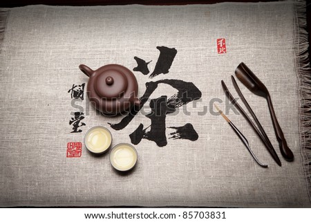 Tea set on chinese calligraphy of tea
