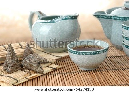 tea-set with tea - stock photo