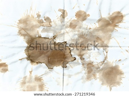 Tea stains on a white sheet. Old stained sheet of paper - stock photo