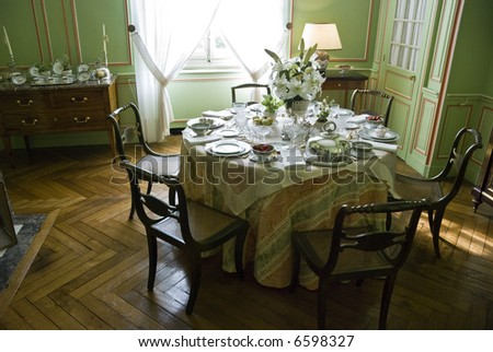 Tea table in Chateau Cheverny. Loire Valley, France. - stock photo
