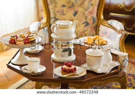 Tea table setting at Cheverny Chateau France & Tea Table Setting Cheverny Chateau France Stock Photo u0026 Image ...