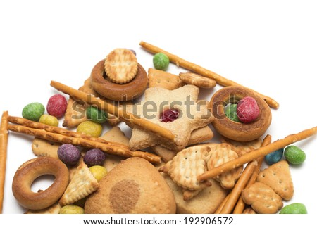 Tea time - cookies with colored sweets for tea. Dessert. Photo.