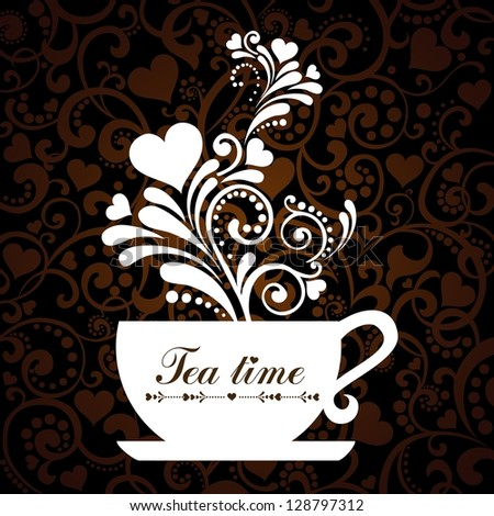 Tea time. Cup with floral design elements.  illustration.