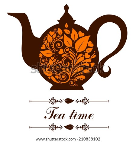 Tea time. Teapot. Beautiful background with teapot and place for your text. Menu for restaurant, cafe, bar, tea-house. illustration  - stock photo