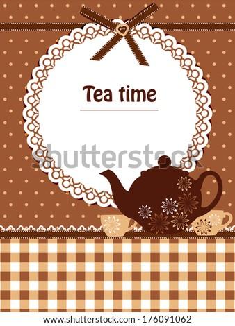 Tea time template - stock photo