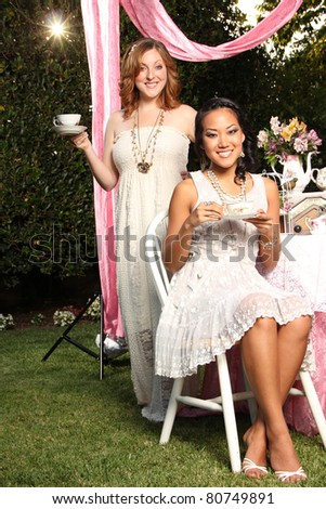 Tea Time with Two Ladies - stock photo