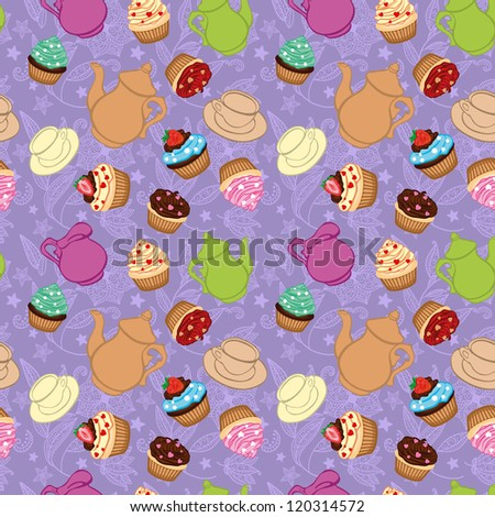Tea violet background  with cupcakes - stock photo