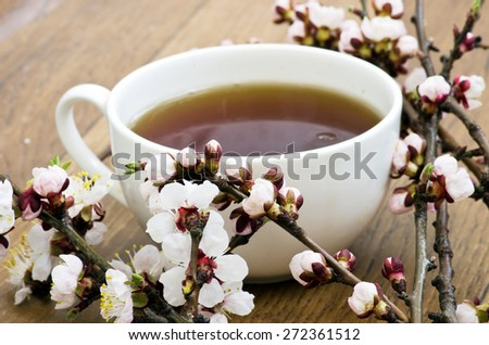 tea with apricot flowers and branches on table, top view - stock photo