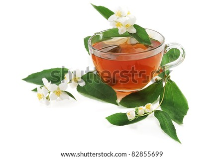 tea with colors of a jasmin on a white background