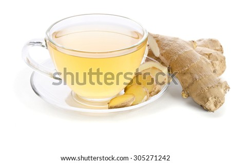 Tea with Ginger Root isolated on white background - stock photo